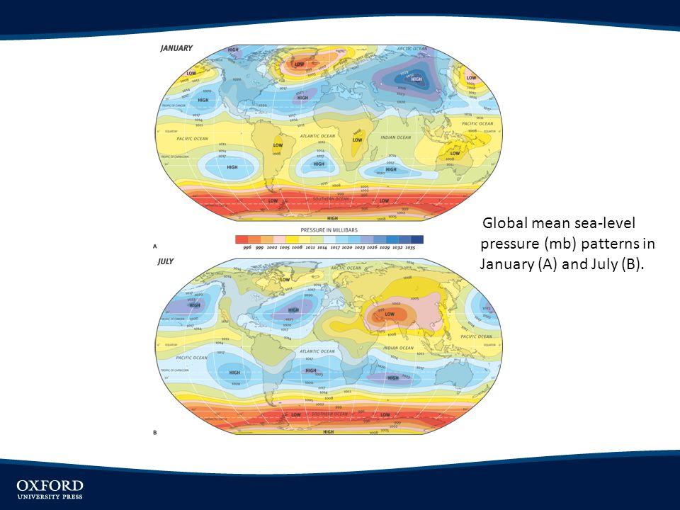 Global mean sea-level pressure (mb) patterns in January (A) and July (B).