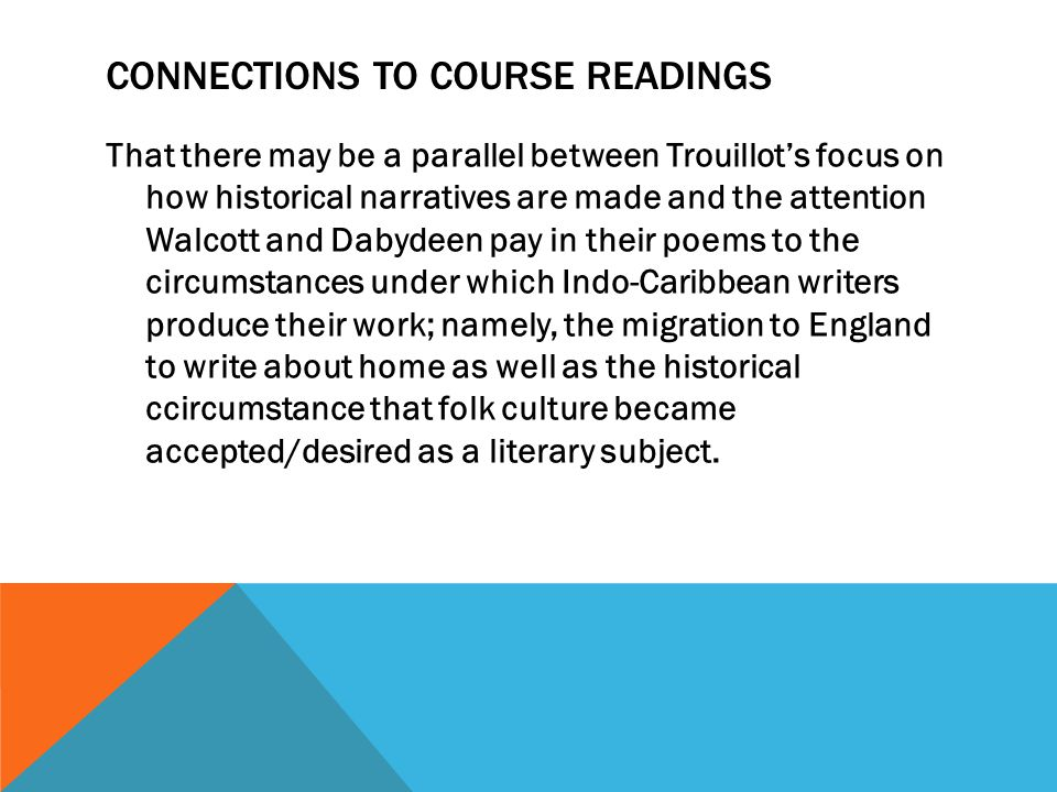 Connections to Course Readings