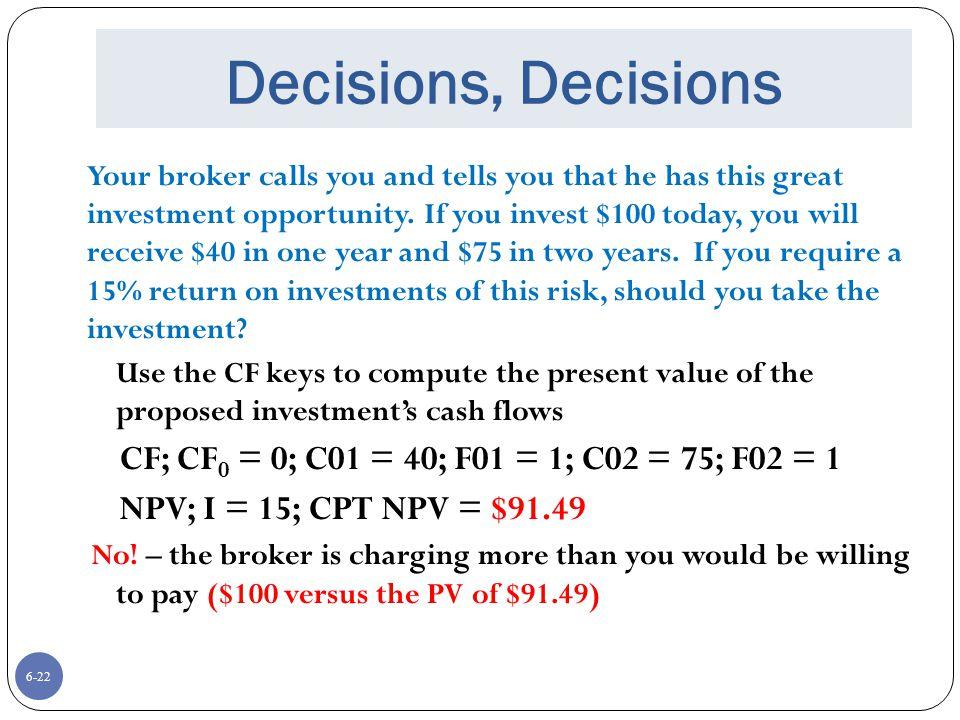 Decisions, Decisions CF; CF0 = 0; C01 = 40; F01 = 1; C02 = 75; F02 = 1