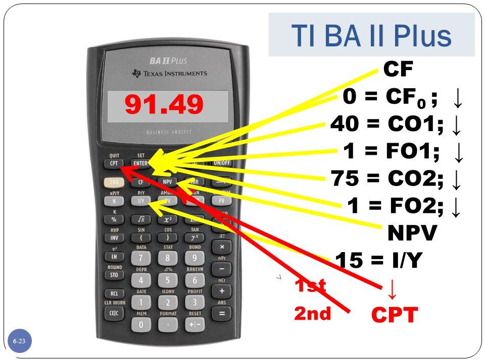 TI BA II Plus 91.49 CF 0 = CF0 ; ↓ 40 = CO1; ↓ 1 = FO1; ↓ 75 = CO2; ↓