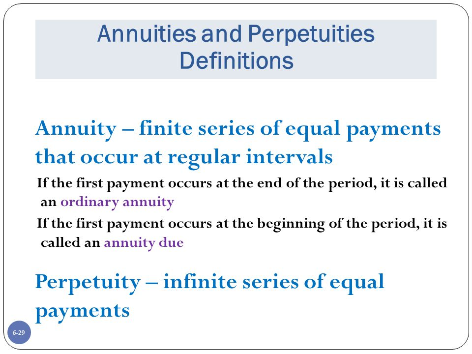 Annuities and Perpetuities Definitions