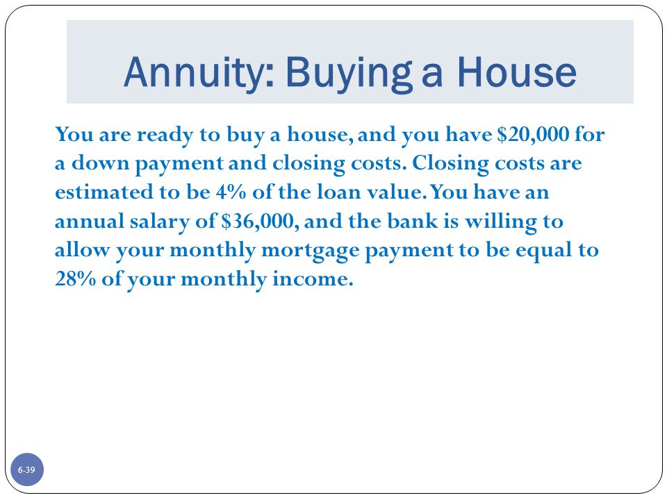 Annuity: Buying a House