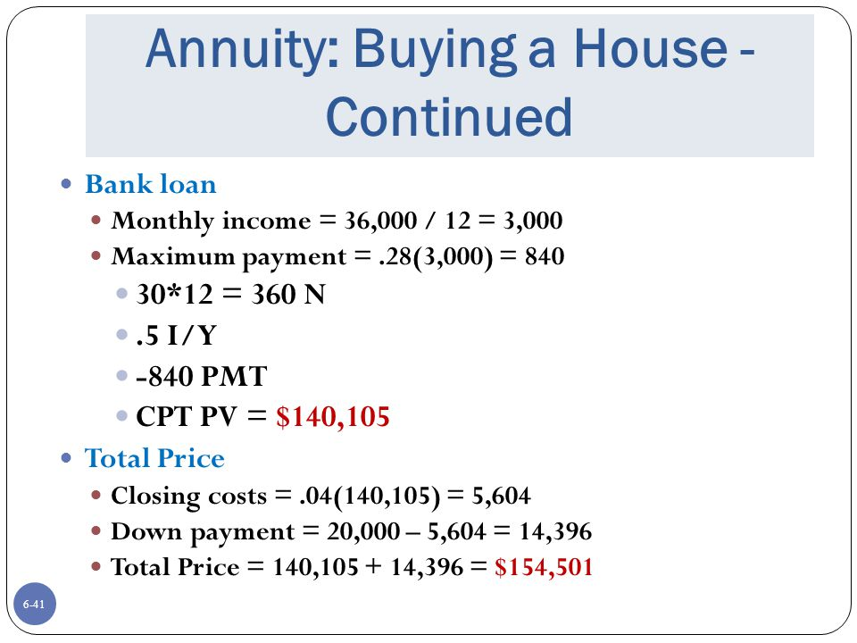 Annuity: Buying a House - Continued
