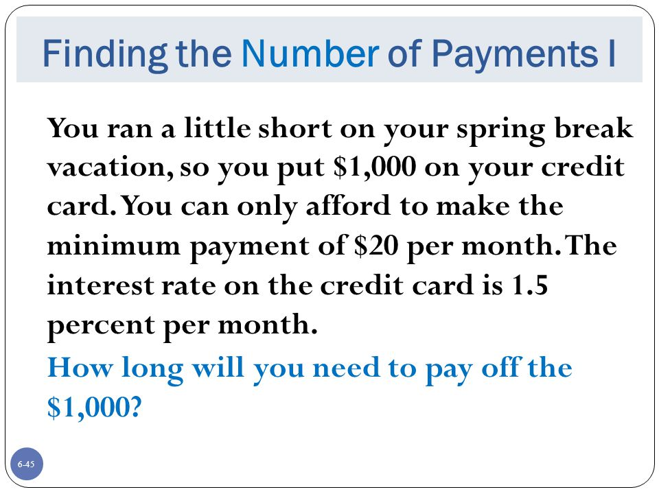 Finding the Number of Payments I