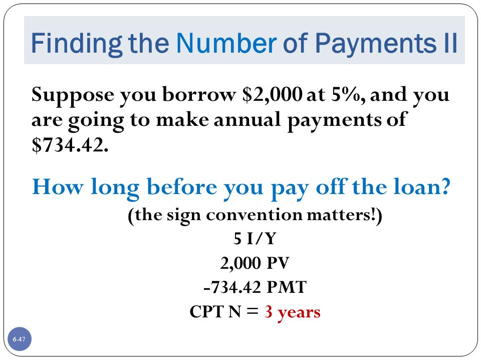 Finding the Number of Payments II