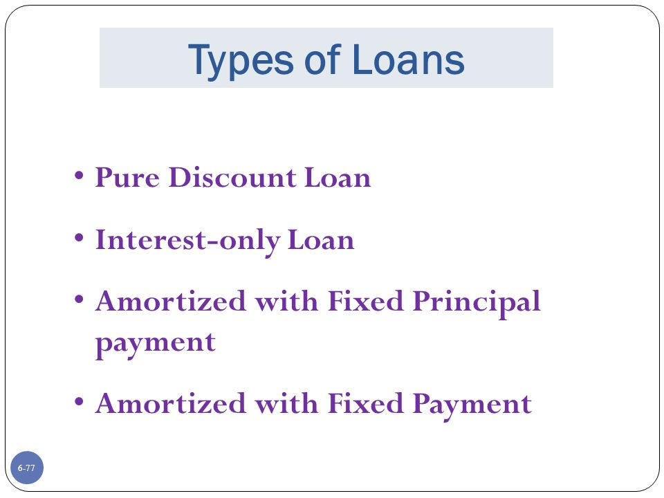Types of Loans Pure Discount Loan Interest-only Loan