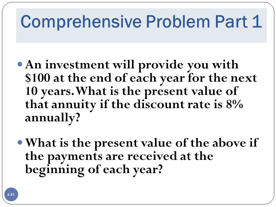 Comprehensive Problem Part 1