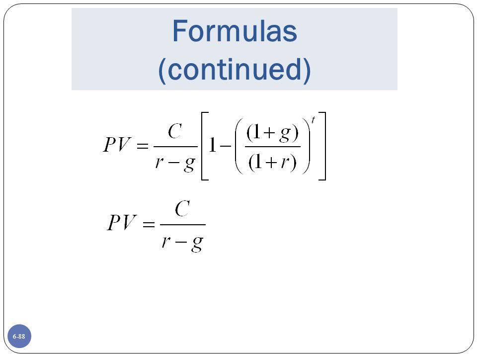 Formulas (continued)