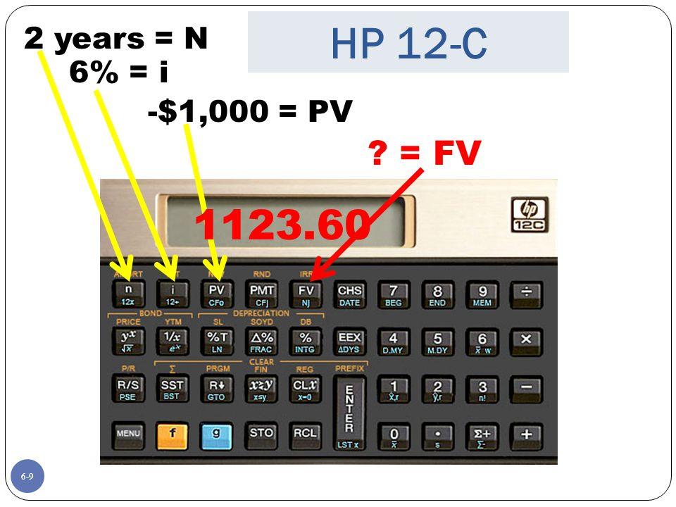 HP 12-C 1123.60 = FV 2 years = N 6% = i -$1,000 = PV