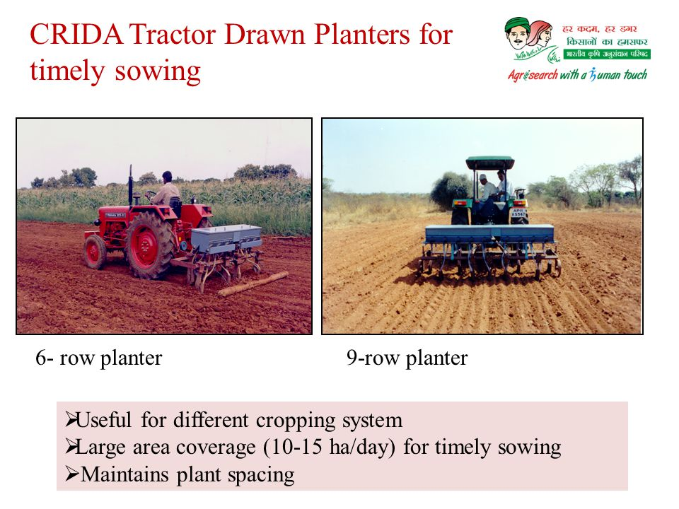 CRIDA Tractor Drawn Planters for timely sowing