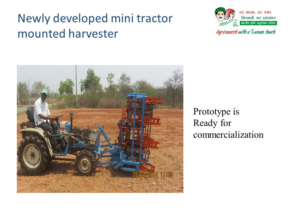 Newly developed mini tractor mounted harvester