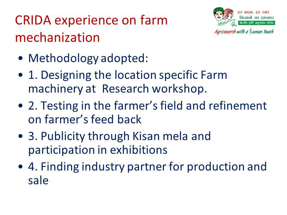 CRIDA experience on farm mechanization