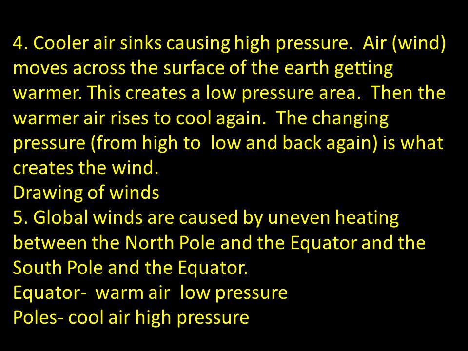 4. Cooler air sinks causing high pressure