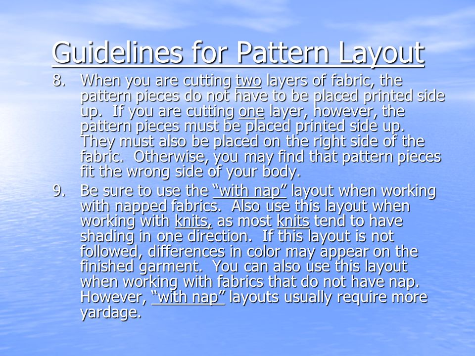 Guidelines for Pattern Layout