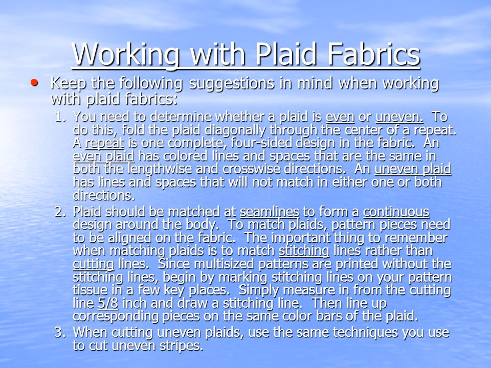 Working with Plaid Fabrics