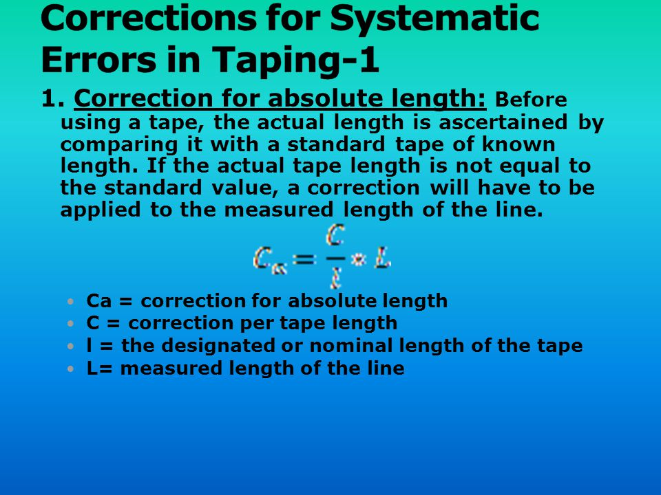 Corrections for Systematic Errors in Taping-1