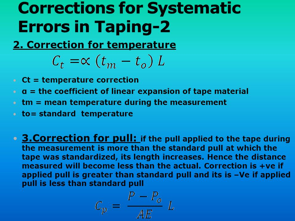 Corrections for Systematic Errors in Taping-2