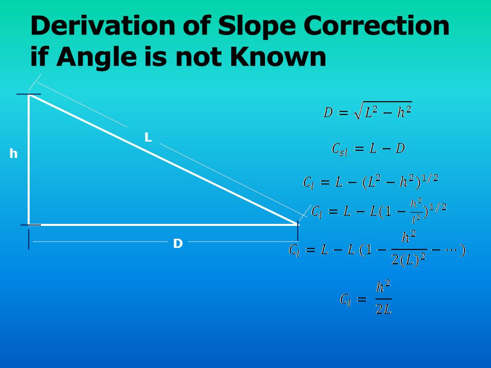 Derivation of Slope Correction if Angle is not Known