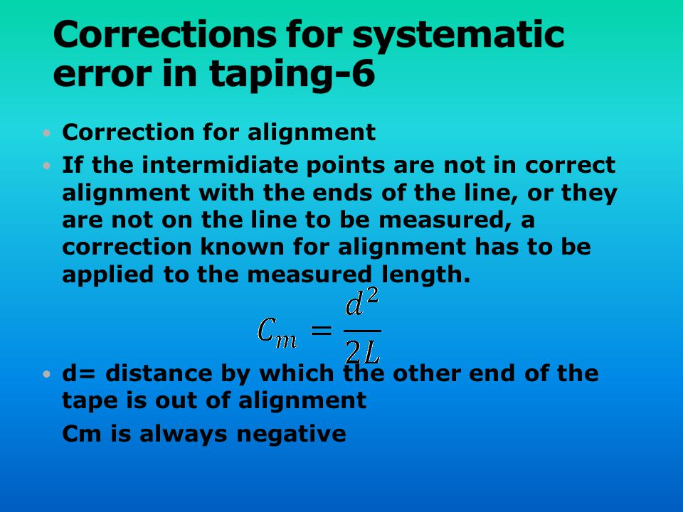 Corrections for systematic error in taping-6