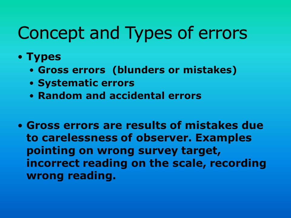 Concept and Types of errors