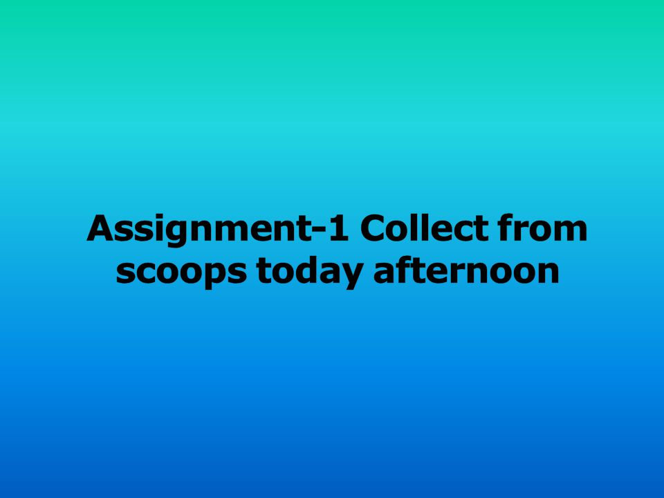 Assignment-1 Collect from scoops today afternoon