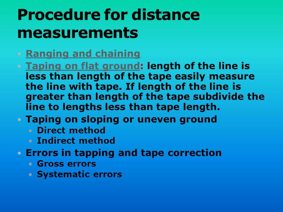 Procedure for distance measurements