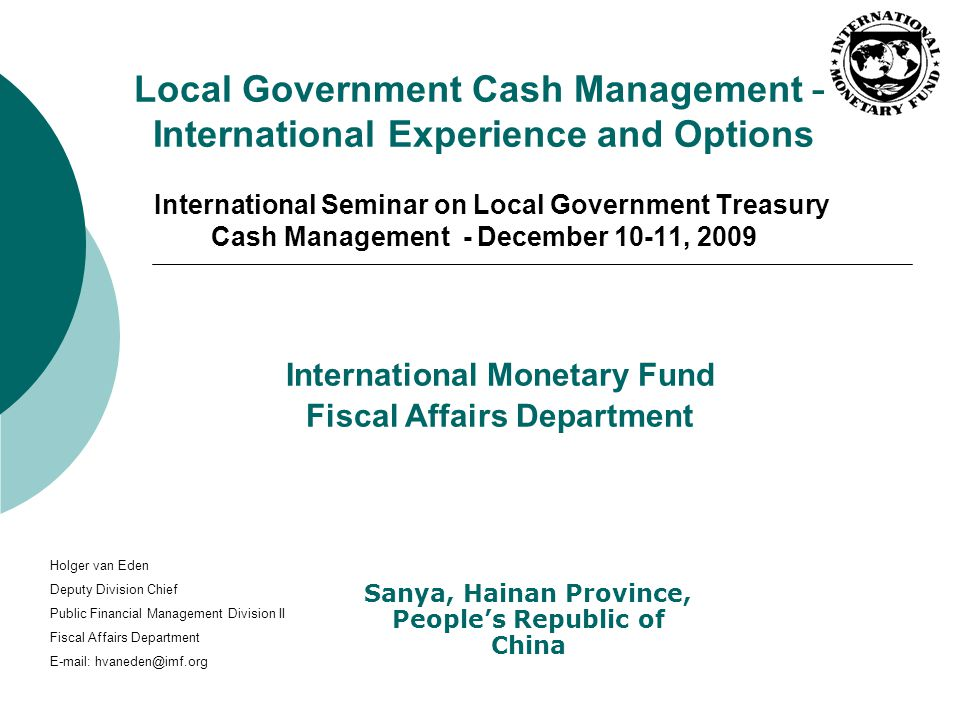 International Monetary Fund Fiscal Affairs Department