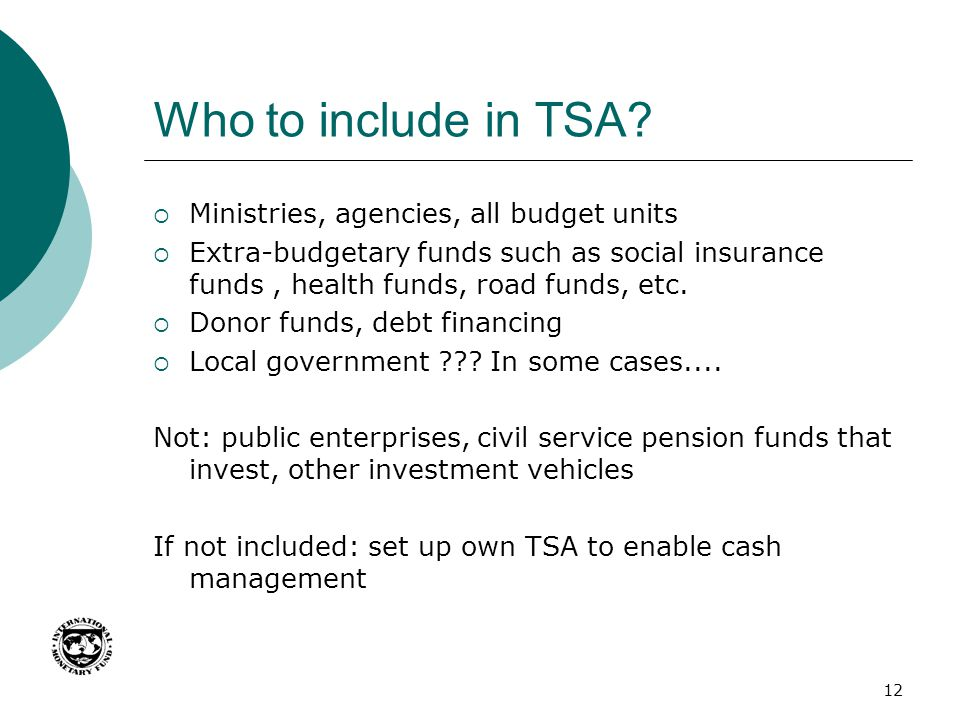 Who to include in TSA Ministries, agencies, all budget units