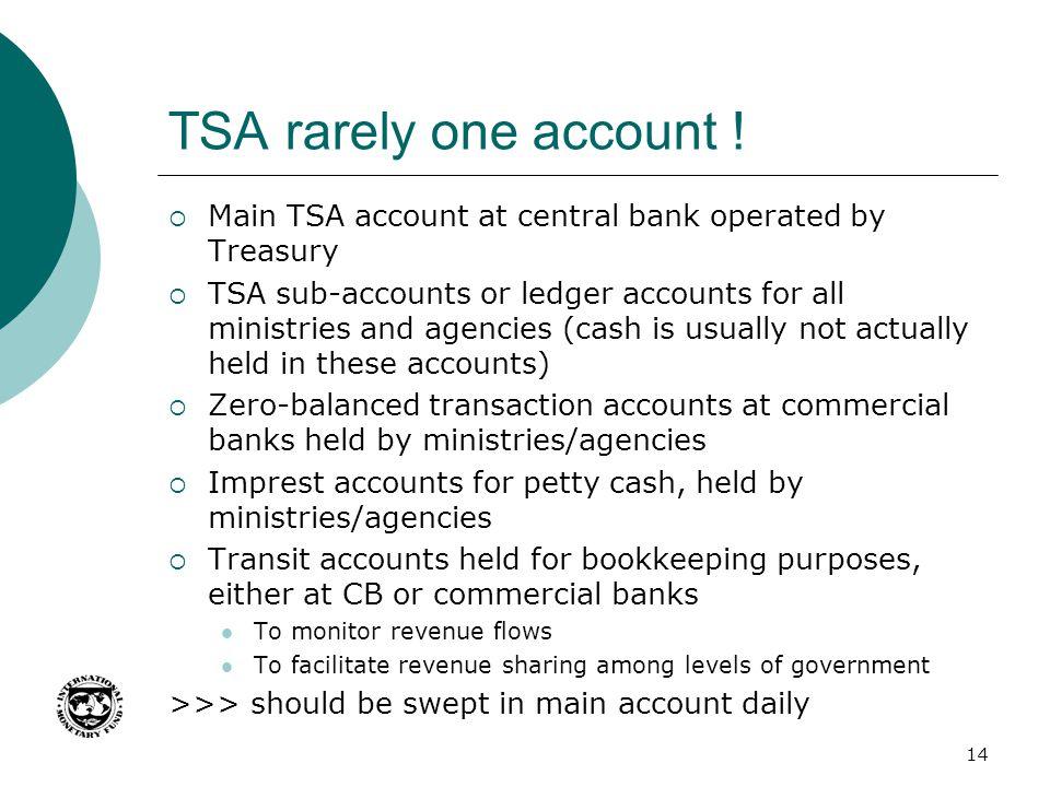 TSA rarely one account ! Main TSA account at central bank operated by Treasury.