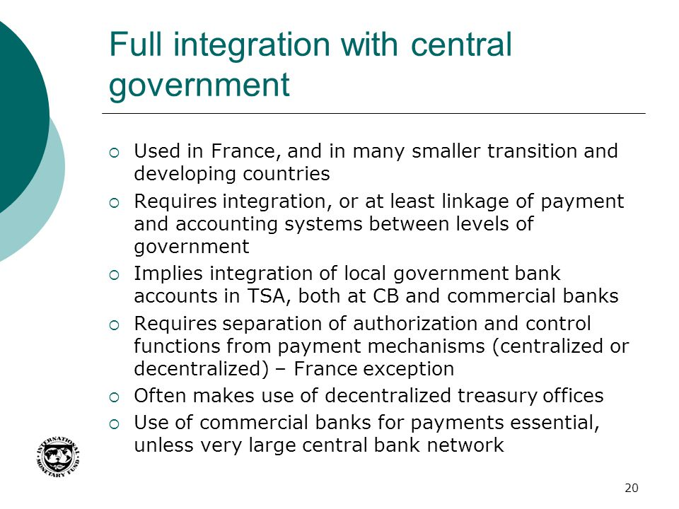 Full integration with central government
