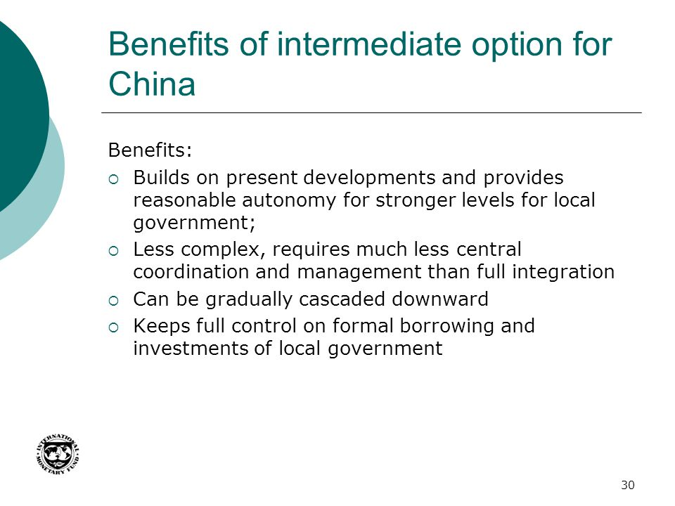 Benefits of intermediate option for China