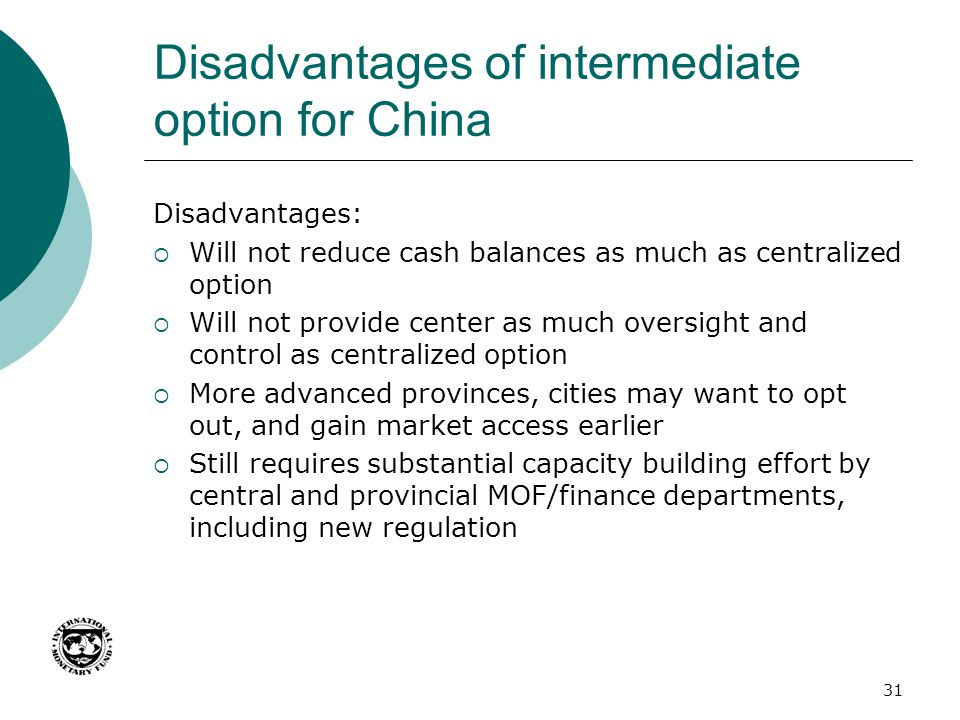 Disadvantages of intermediate option for China