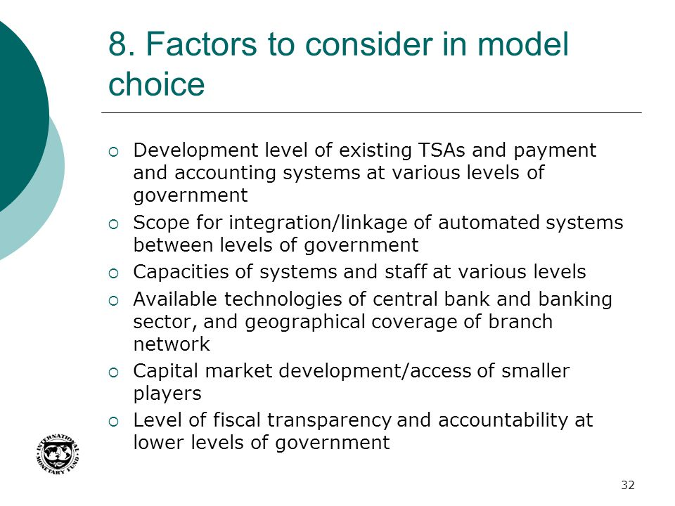 8. Factors to consider in model choice
