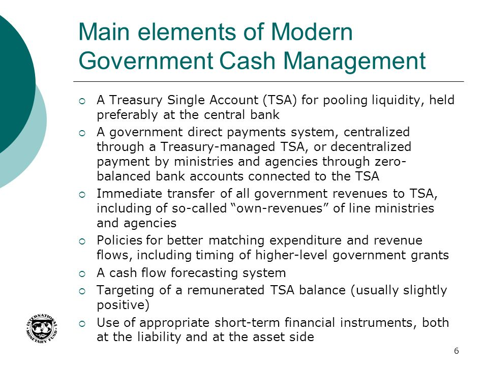 Main elements of Modern Government Cash Management