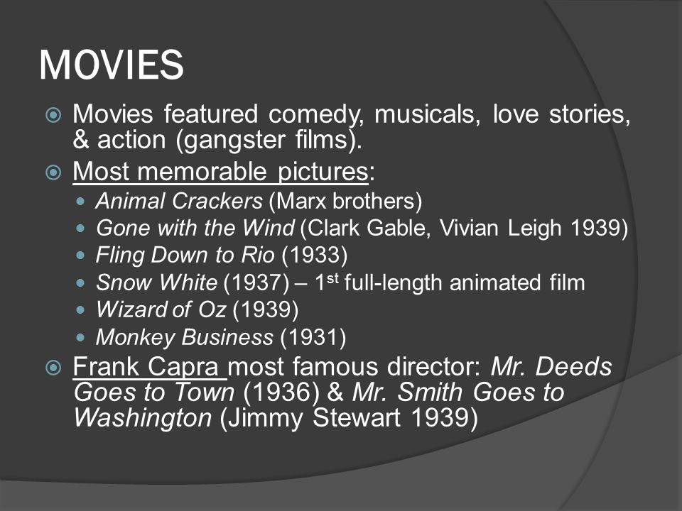 MOVIES Movies featured comedy, musicals, love stories, & action (gangster films). Most memorable pictures: