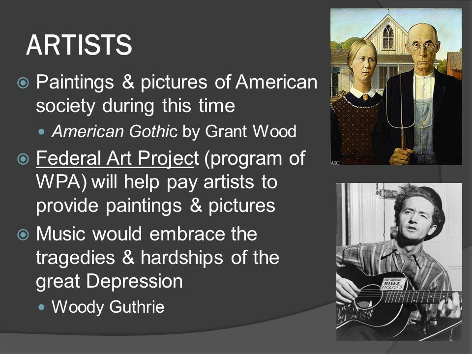 ARTISTS Paintings & pictures of American society during this time