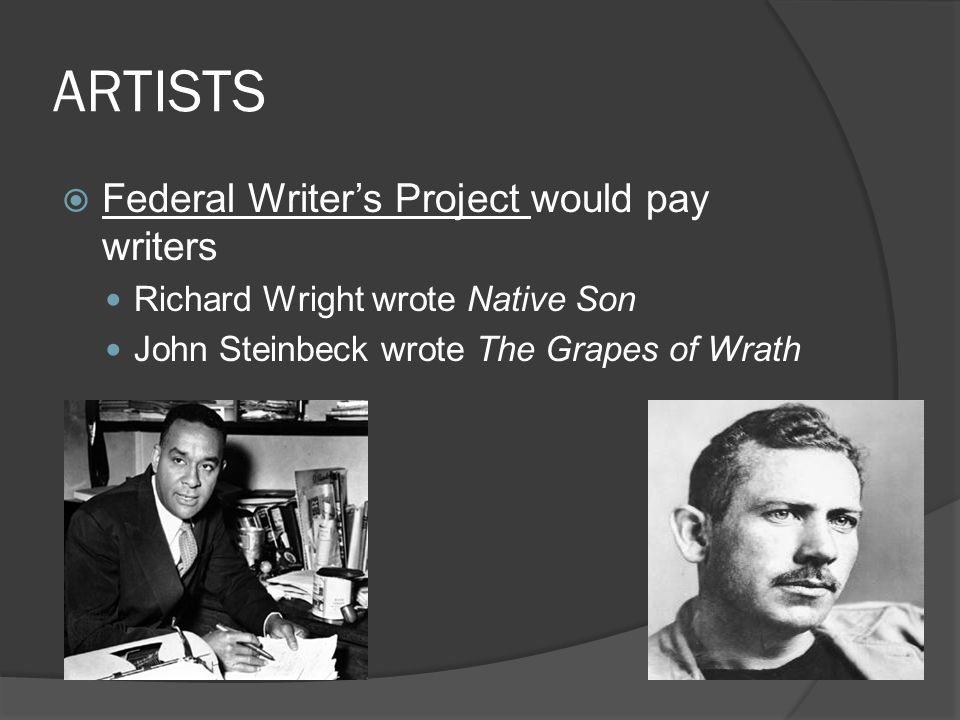 ARTISTS Federal Writer's Project would pay writers