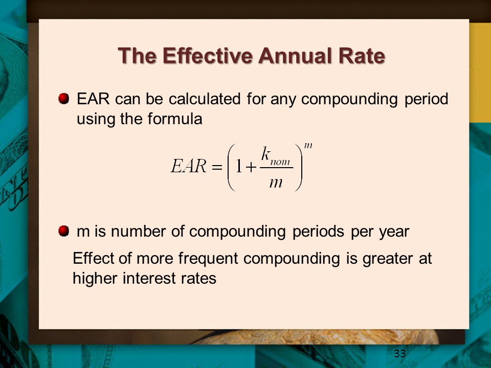 ear for an annual period The effective annual rate (ear) is the rate of interest actually earned on an investment or paid on a loan as a result of compounding the interest over a given period of time.