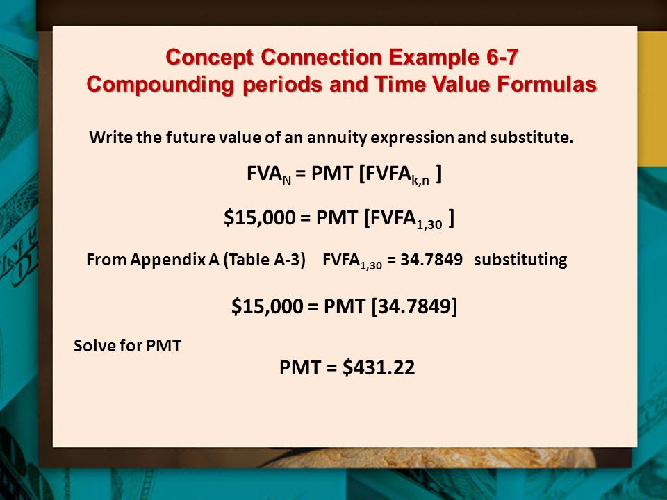 Concept Connection Example 6-7 Compounding periods and Time Value Formulas
