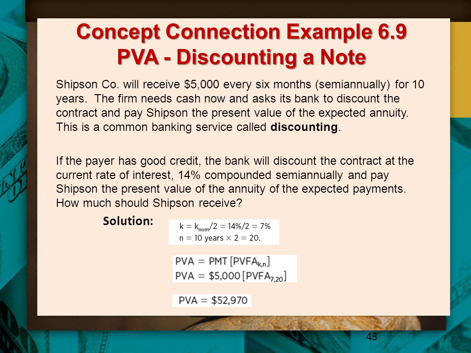 Concept Connection Example 6.9 PVA - Discounting a Note