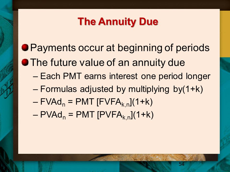 Payments occur at beginning of periods
