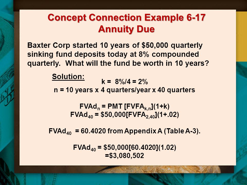 Concept Connection Example 6-17 Annuity Due