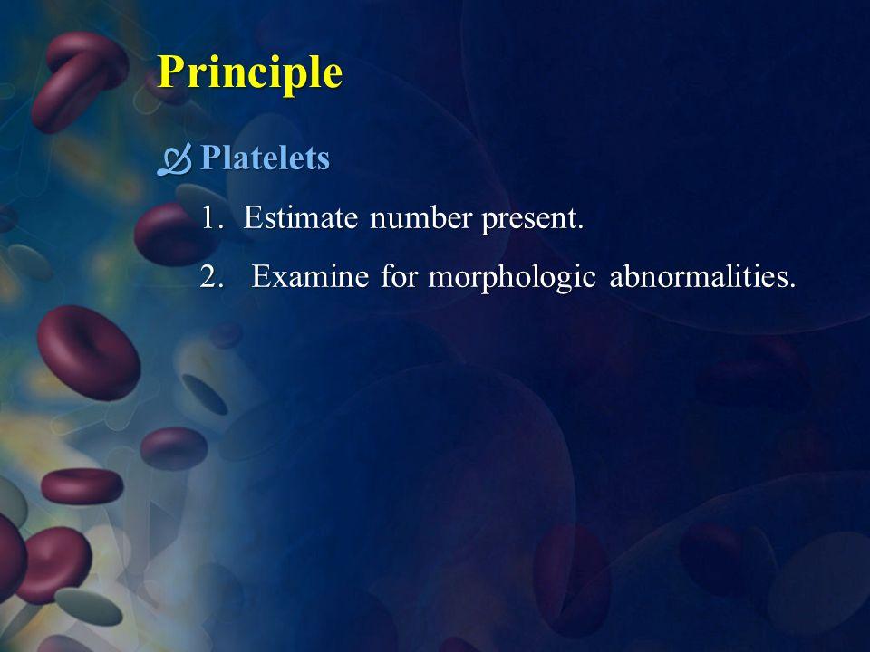 Principle Platelets Estimate number present.