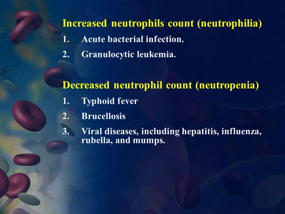 Increased neutrophils count (neutrophilia)