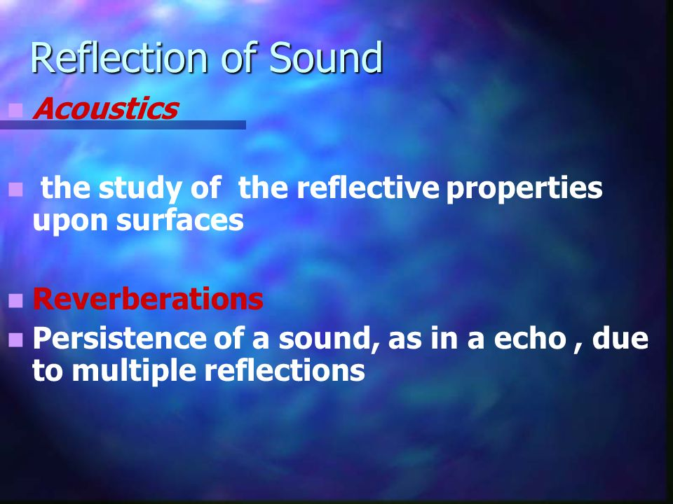 Reflection of Sound Acoustics