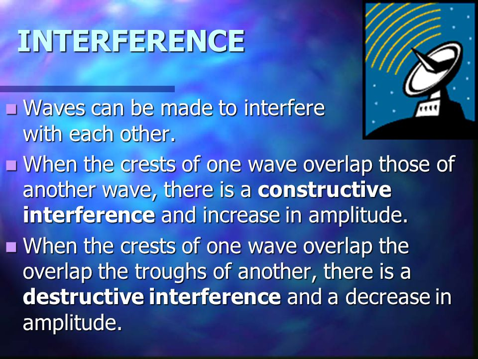 INTERFERENCE Waves can be made to interfere with each other.