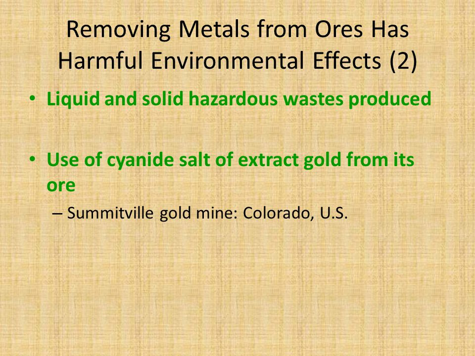 Removing Metals from Ores Has Harmful Environmental Effects (2)