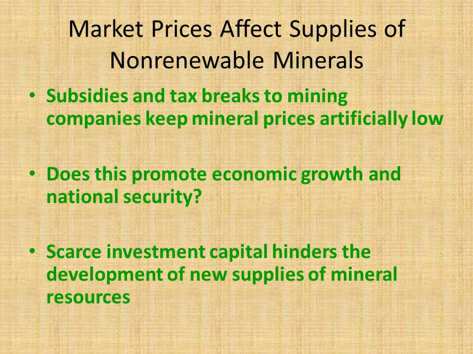 Market Prices Affect Supplies of Nonrenewable Minerals