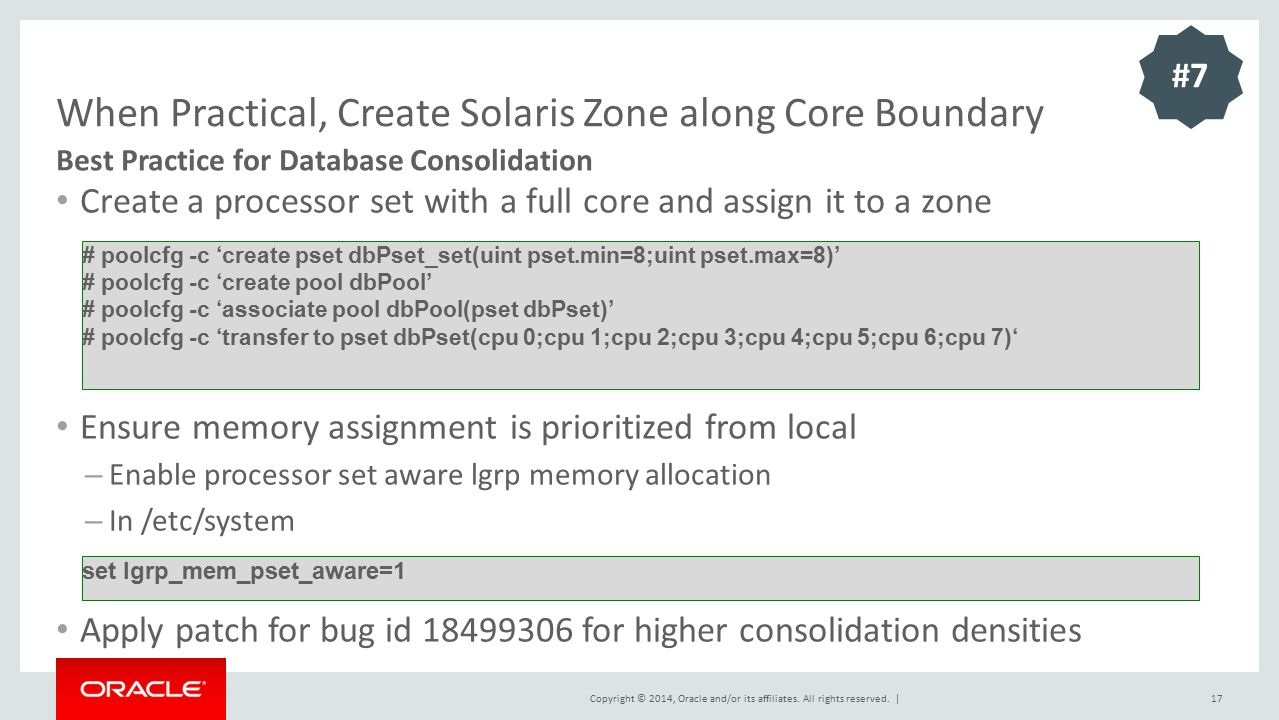 When Practical, Create Solaris Zone along Core Boundary