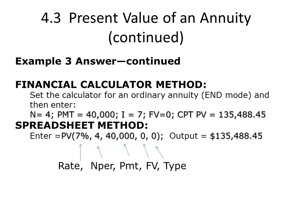 4.3 Present Value of an Annuity (continued)